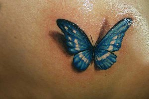 Tatouage papillon 3d art design - wikitattoo.fr