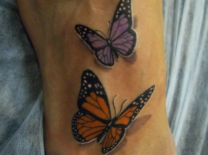 Tatouage papillon 3d couleur relief - wikitattoo.fr