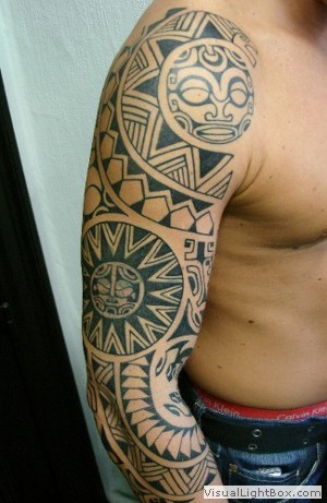 Tatouage Ange Polynesien Bras Complet Homme