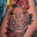 tatouage tete de mort mexicaine old school tattoo