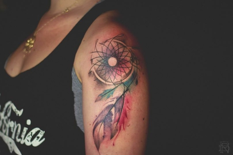 Dessin Tatouage Aquarelle Dream Catcher Epaule Femme