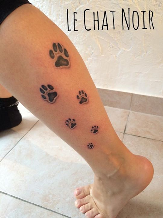 Tatouage Pied Mollet Patte De Chat
