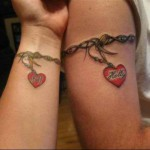 Couple tattoo bracelet coeur perle