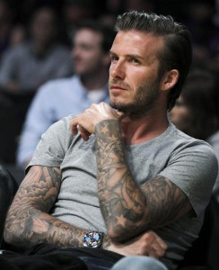 David Beckham tatouage bras complet