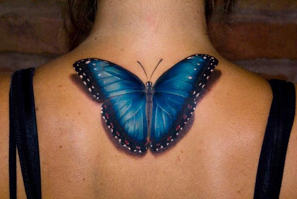 Photo Tatouage Realiste Papillon Nuque Femme