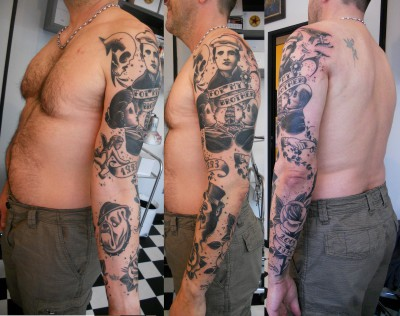 tatouage old school bras complet