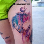 idee tatouage ancre marine water color femme cuisse